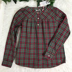 Vineyard Vines Tomato Check Popover Plaid Blouse